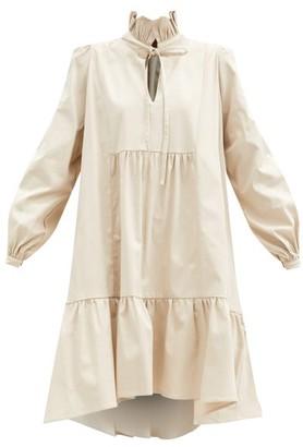 ÀCHEVAL PAMPA Campo Ruffle-neck Cotton-blend Dress - Beige