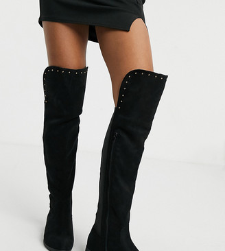 Simply Be Wide Fit knee high flat boots in black