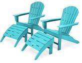 South Beach Plastic Folding Adirondack Chair with Ottoman POLYWOODA Color: Aruba