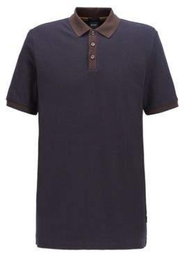 Two-tone polo shirt in micro check cotton jacquard
