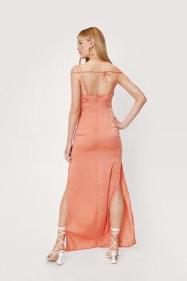 Nasty Gal Womens Strappy Satin Side Slit Maxi Dress - White - 12
