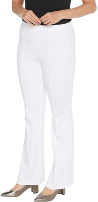 H by Halston Regular Ultra Knit Boot-Cut Pants with Pintuck Detail