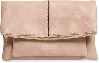 Sole Society Lalet Fold Over Faux Leather Clutch