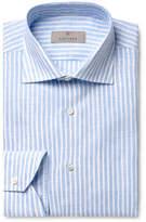 Canali Light-Blue Slim-Fit Striped Linen Shirt