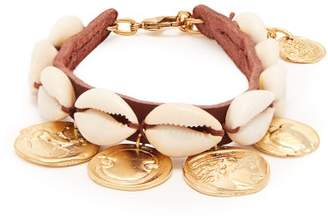 Ancient Greek Sandals Puka Shell And Coin Charm Leather Anklet - Womens - Brown