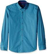 Bugatchi Men's Tapered Fit Button Down Check Pattern Woven Shirt