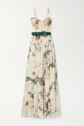 PatBO Sophia Belted Lace-paneled Floral-print Chiffon Maxi Dress - Beige