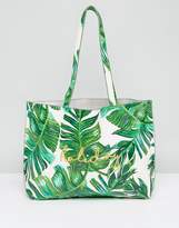 Skinnydip Palm Print Tote Bag with Vacation Embroidery