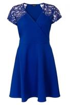 Quiz Curve Royal Blue Lace Sleeve Wrapover Skater Dress