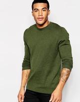 Asos Crew Neck Sweater In Khaki Cotton