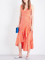 Diane von Furstenberg Gingham-print silk-crepe de chine dress