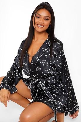 boohoo Star Print Satin Kimono Robe