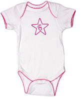 Princess Linens White & Raspberry '6 Months' Bodysuit - Infant
