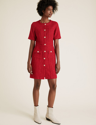 Marks and Spencer Tweed Button Front Mini Waisted Dress