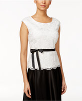 Alex Evenings Petite Lace Sash-Belt Blouse