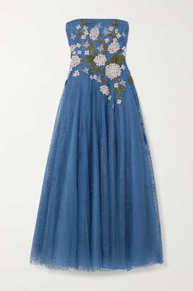 Costarellos Elette Strapless Appliqued Polka-dot Tulle Gown - Blue