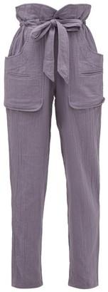 Etoile Isabel Marant Bessie Paperbag-waist Cheesecloth Trousers - Indigo