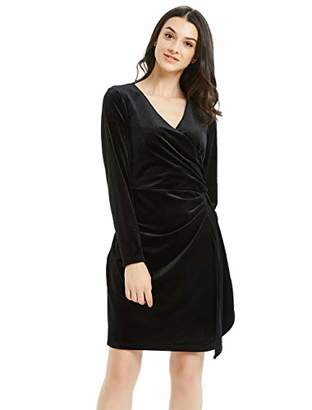 Basic Model Women's Velvet Long Sleeve Wrap Dress - Bodycon Tulip Hem V-Neck High Waist Gown