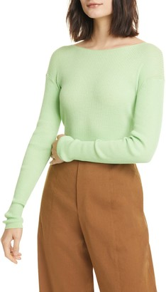 Vince Ribbed Boat Neck Top