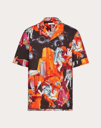 Valentino Infinite City Shirt Man Orange Cotton 100% 46