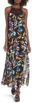Band of Gypsies Women's Crochet Inset Floral Print Maxi Dress