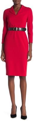 Modern American Designer Notch Collar 3/4 Sleeve Sheath Dress
