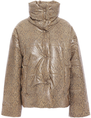Nanushka Vegan Snake-effect Leather Jacket