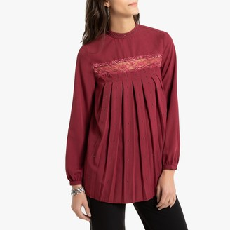 Anne Weyburn High-Neck Laced Gathered Blouse with Long Sleeves