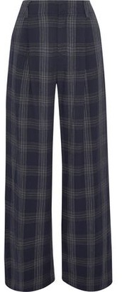 Vince Pleated Checked Flannel Wide-leg Pants