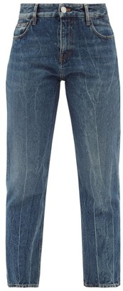 Balenciaga Distressed Cropped Straight-leg Jeans - Denim