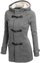 OCHENTA Women's Winter Casual Faux Fur Hooded Horn Button Wool Trench Coat Outwear Jacket