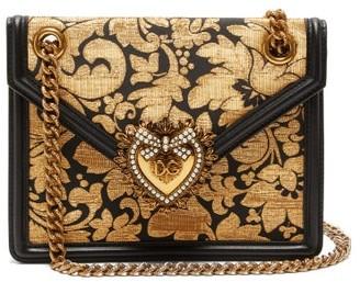 Dolce & Gabbana Devotion Floral-jacquard Cross-body Bag - Womens - Black Gold