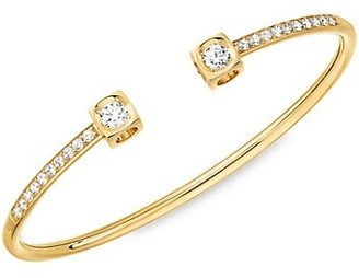 Dinh Van Le Cube 18K Yellow Gold & Diamond Pave Large Bangle Bracelet