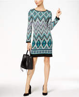 NY Collection Jacquard Sweater Dress