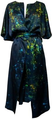 Carmen Molina Arctic Lilies Silk Wrap Kaftan