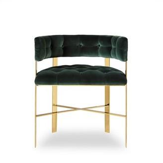 Sonder Living Tufted Metal King Louis Back Barrel Chair in Green
