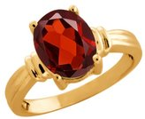 Gem Stone King 2.85 Ct Oval Garnet 14K Yellow Gold Ring
