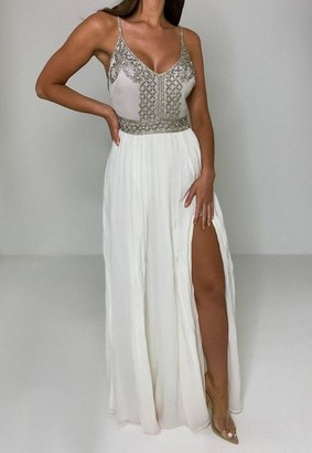 Missguided White Embellished Cami Floaty Maxi Dress