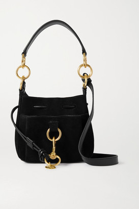 See by Chloe Tony Small Suede And Textured-leather Bucket Bag - Black