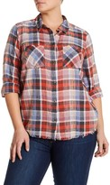 Melrose and Market Raw Hem Boyfriend Plaid Shirt (Plus Size)