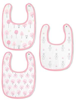 Swaddle Designs Cotton Muslin Bibs, Pink Thicket, Set of 3