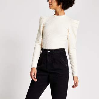 River Island Womens Cream textured long puff sleeve top