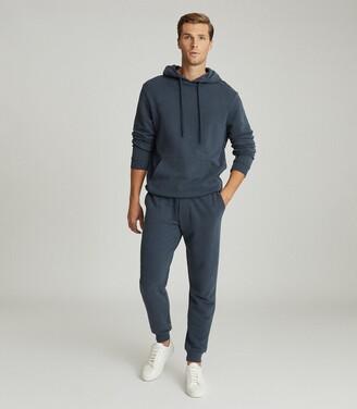 Reiss Berwick - Garment Dyed Hoodie in Airforce Blue