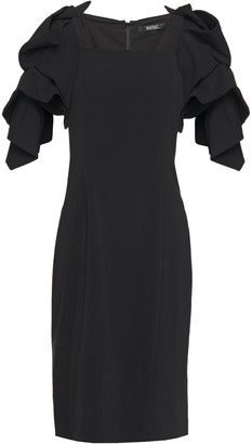 Badgley Mischka Gathered Ruffle-trimmed Stretch-crepe Dress