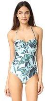 Mara Hoffman Women's Sea Tree Cut-Out Back Bustier One Piece Swimsuit