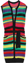 Balmain Belted Striped Open-Knit Cardigan