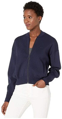 Lacoste Long Sleeve Full Zip Full Needle Neo Feminine Sweater (Navy Blue) Women's Clothing