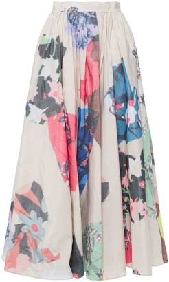 Roksanda Gathered Floral-print Faille Maxi Skirt