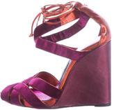 Tom Ford Metallic Velvet Wedge Sandals