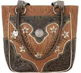 American West Women's Desert Wildflower Zip-Top Tote with 3 Outside Pock